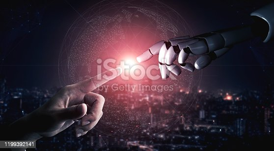867341648 istock photo Future artificial intelligence robot and cyborg. 1199392141