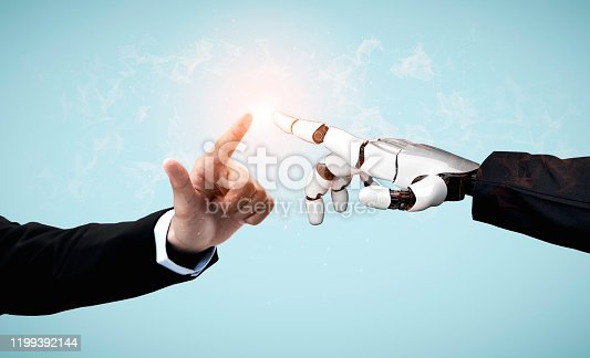 867341648 istock photo Future artificial intelligence robot and cyborg. 1199392144