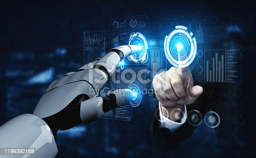 867341648 istock photo Future artificial intelligence robot and cyborg. 1199392159