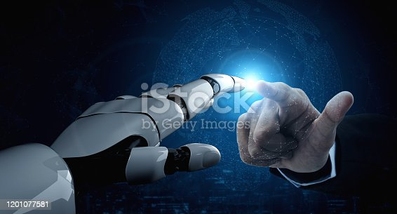 867341648 istock photo Future artificial intelligence robot and cyborg. 1201077581