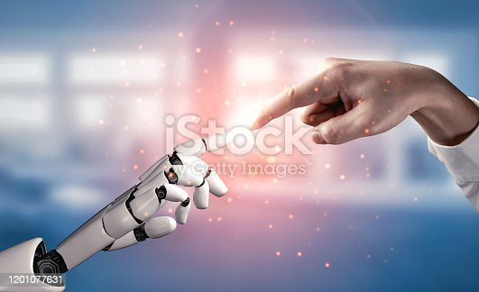 867341648 istock photo Future artificial intelligence robot and cyborg. 1201077631