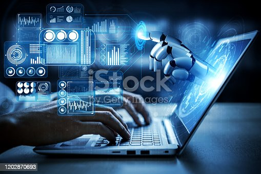 Artificial intelligence AI research of robot and cyborg development for future of people living. Digital data mining and machine learning technology design for computer brain communication.