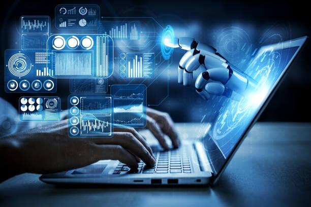 futuro robot de inteligencia artificial y cyborg. - robot fotografías e imágenes de stock