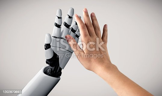 867341648 istock photo Future artificial intelligence robot and cyborg. 1202870697