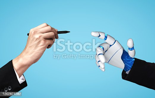 867341648 istock photo Future artificial intelligence robot and cyborg. 1202871282
