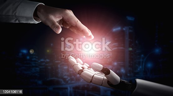 867341648 istock photo Future artificial intelligence robot and cyborg. 1204106116