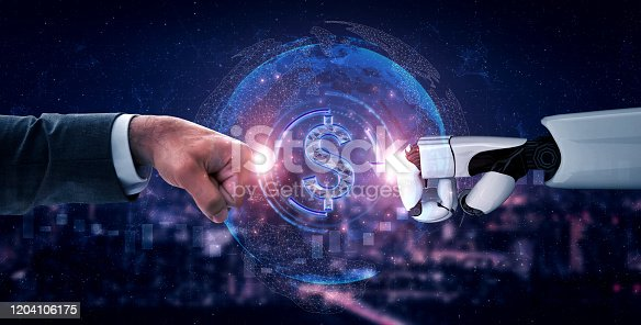 1050855372 istock photo Future artificial intelligence robot and cyborg. 1204106175