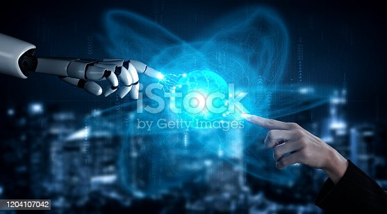 867341648 istock photo Future artificial intelligence robot and cyborg. 1204107042