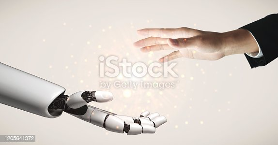 867341648 istock photo Future artificial intelligence robot and cyborg. 1205641372