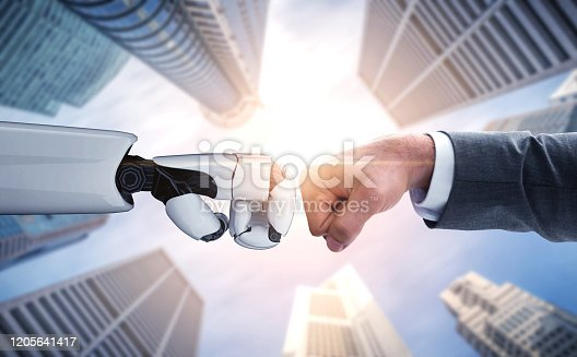 1050855372 istock photo Future artificial intelligence robot and cyborg. 1205641417