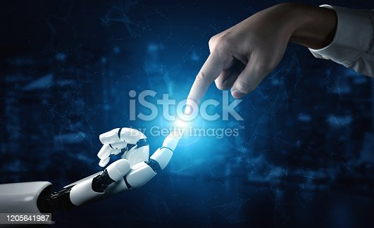 867341648 istock photo Future artificial intelligence robot and cyborg. 1205641987