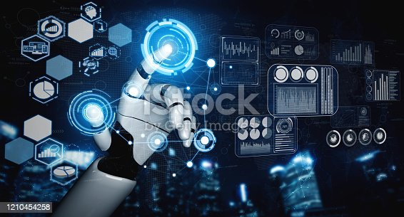 1190871157 istock photo Future artificial intelligence robot and cyborg. 1210454258