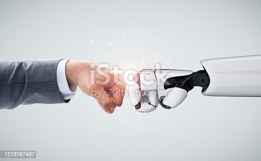 1050855372 istock photo Future artificial intelligence robot and cyborg. 1213167457