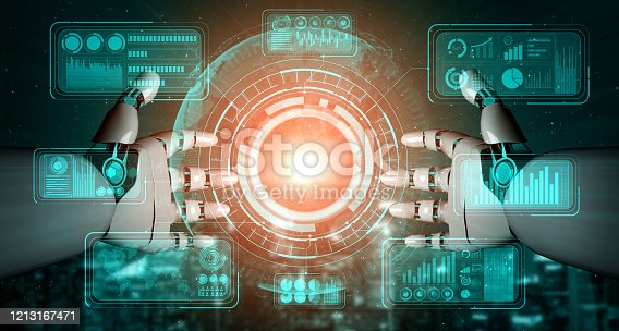 1190871157 istock photo Future artificial intelligence robot and cyborg. 1213167471