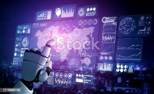 1190871157 istock photo Future artificial intelligence robot and cyborg. 1219865192