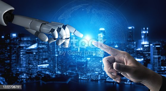 867341648 istock photo Future artificial intelligence robot and cyborg. 1222706751