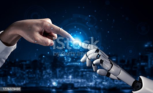 867341648 istock photo Future artificial intelligence robot and cyborg. 1226329493