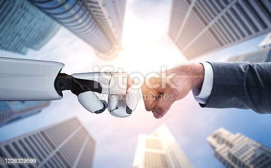 1050855372 istock photo Future artificial intelligence robot and cyborg. 1226329599