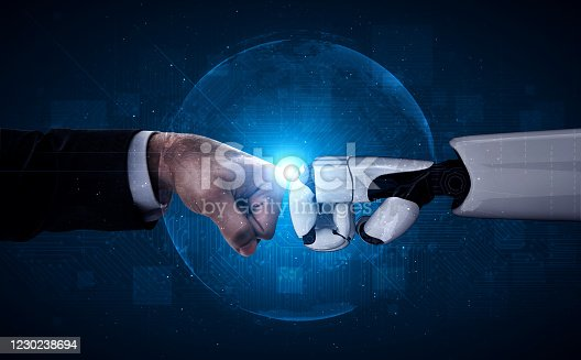 1050855372 istock photo Future artificial intelligence robot and cyborg. 1230238694