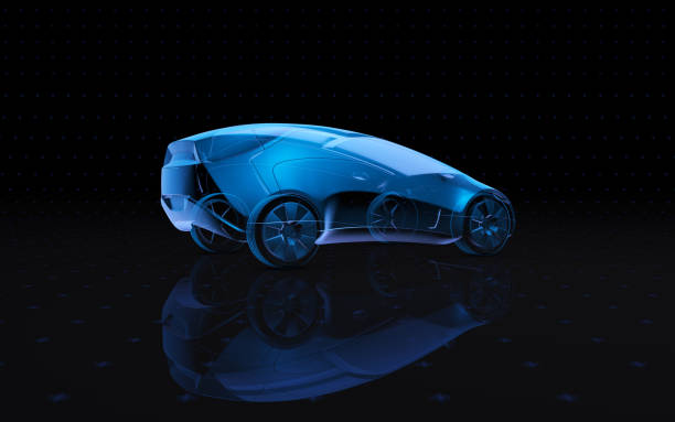 framtida blå röntgen konceptbil. 3d-rendering - wheel black background bildbanksfoton och bilder