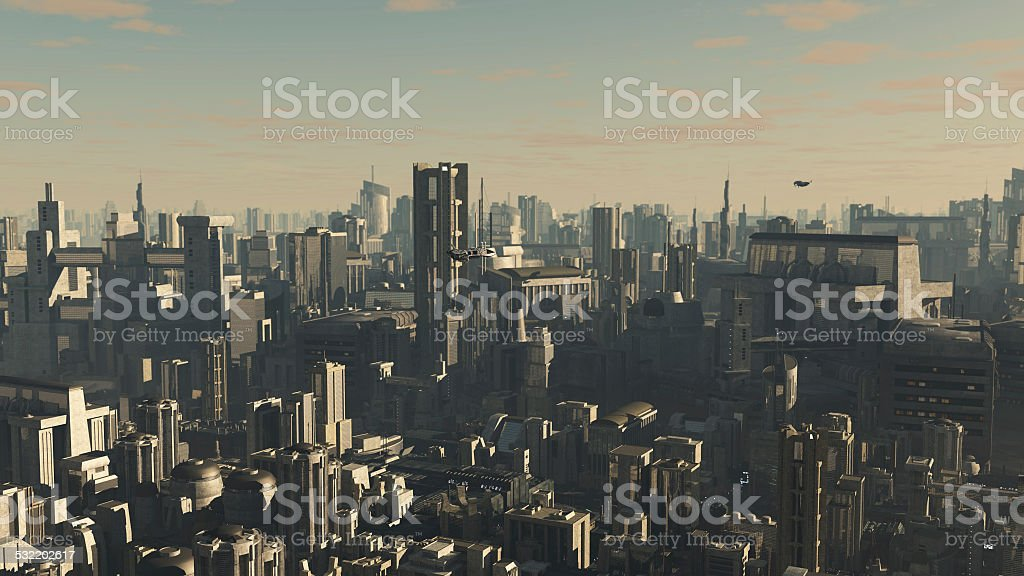 Future City - Late Afternoon stock photo