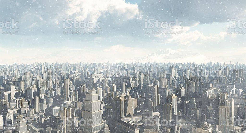 Future City Snowfall stock photo