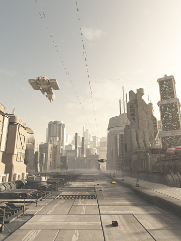 istock Future City Street with Space Cruiser Overhead 470797352