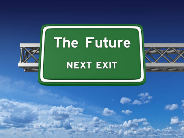future concept highway sign - exit sign stock photos and pictures