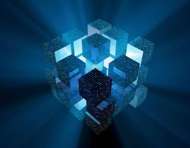 zukünftige datencubes, datenspeicherung, technologie-netzwerk-konnektivität, binäre netzwerktechnik - datenknoten stock-fotos und bilder