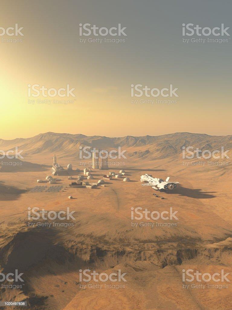 Future Desert Outpost on an Alien World stock photo
