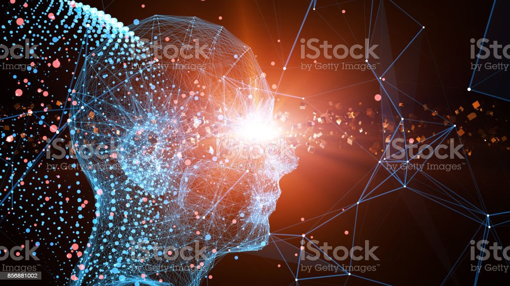 Future human technology, technological innovation stock photo