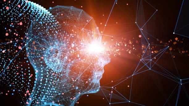 Future human technology, technological innovation stock photo