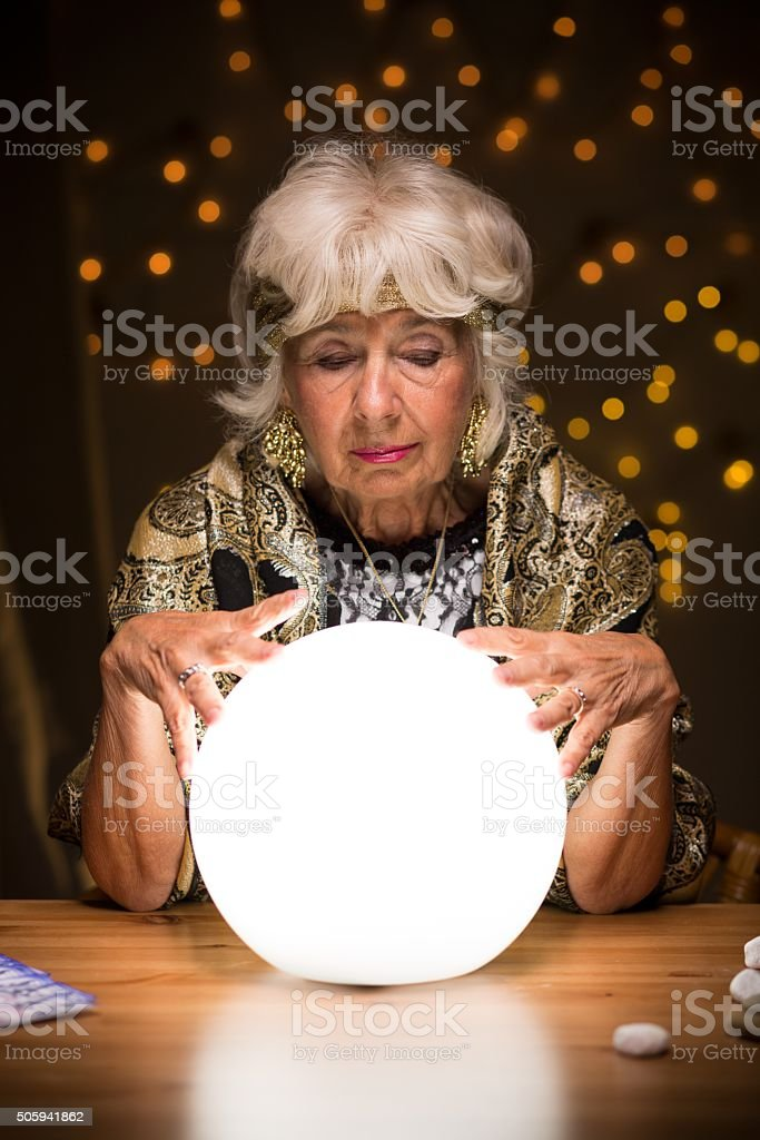 Future in crystal ball stock photo