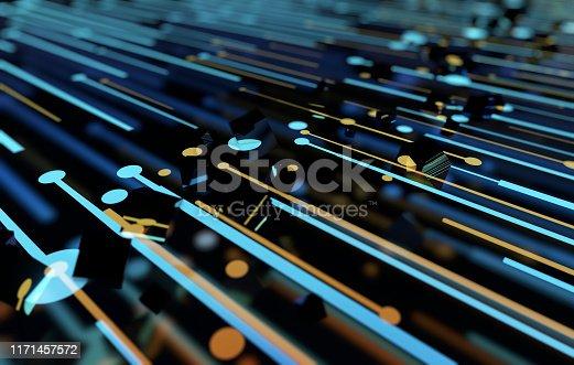 istock Future network data technology, big data transmission and storage, future connectivity 1171457572
