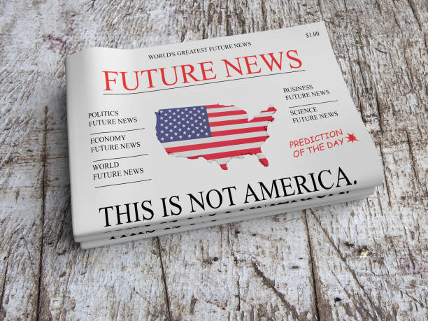 Future News Newspaper Concept: This Is Not America, 3d illustration Future News Newspaper Concept: This Is Not America, 3d illustration front page stock pictures, royalty-free photos & images