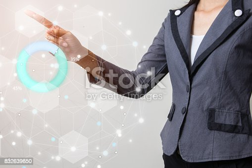 istock Future of financial business concept,Businessman touching increasing graph with finance symbols coming. 832639650