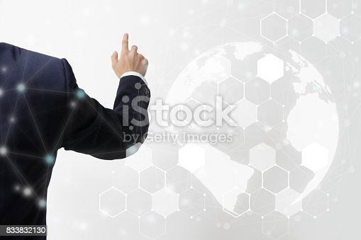 586932042 istock photo Future of financial business concept,Businessman touching increasing graph with finance symbols coming. 833832130