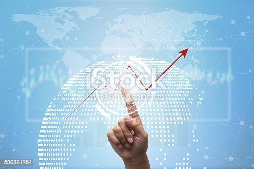 586932042 istock photo Future of financial business concept,Businessman touching increasing graph with finance symbols coming. 836361284