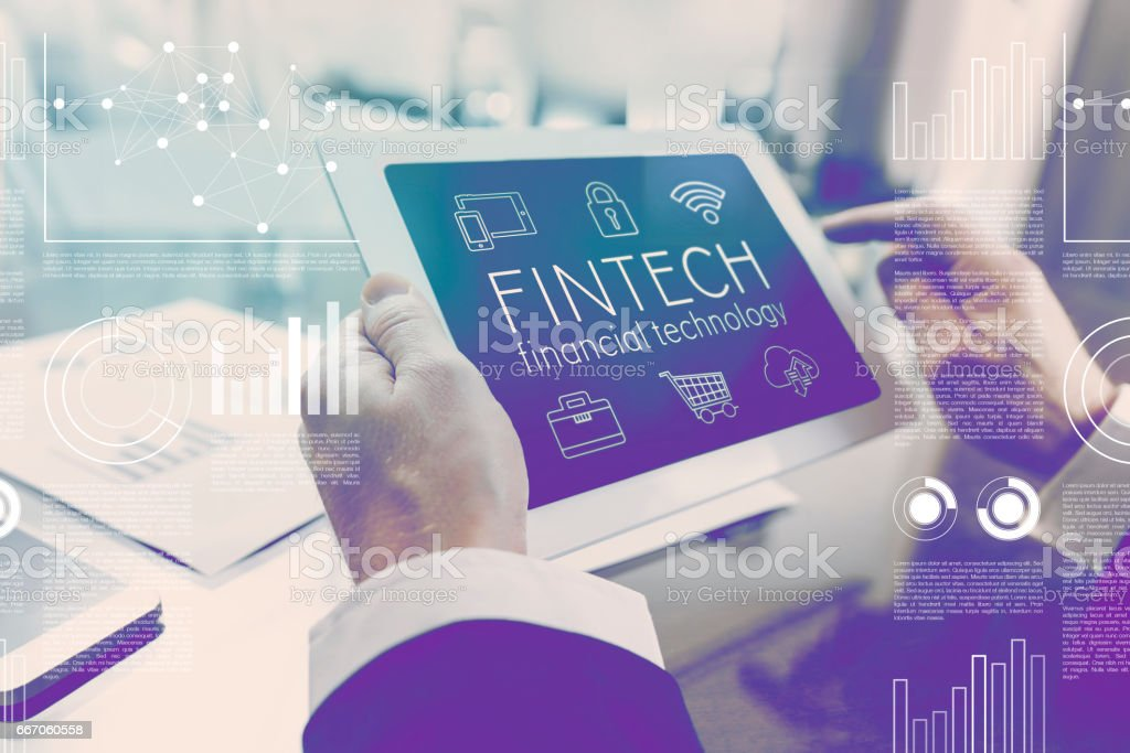 Future of financial technology internet interface concept stock photo