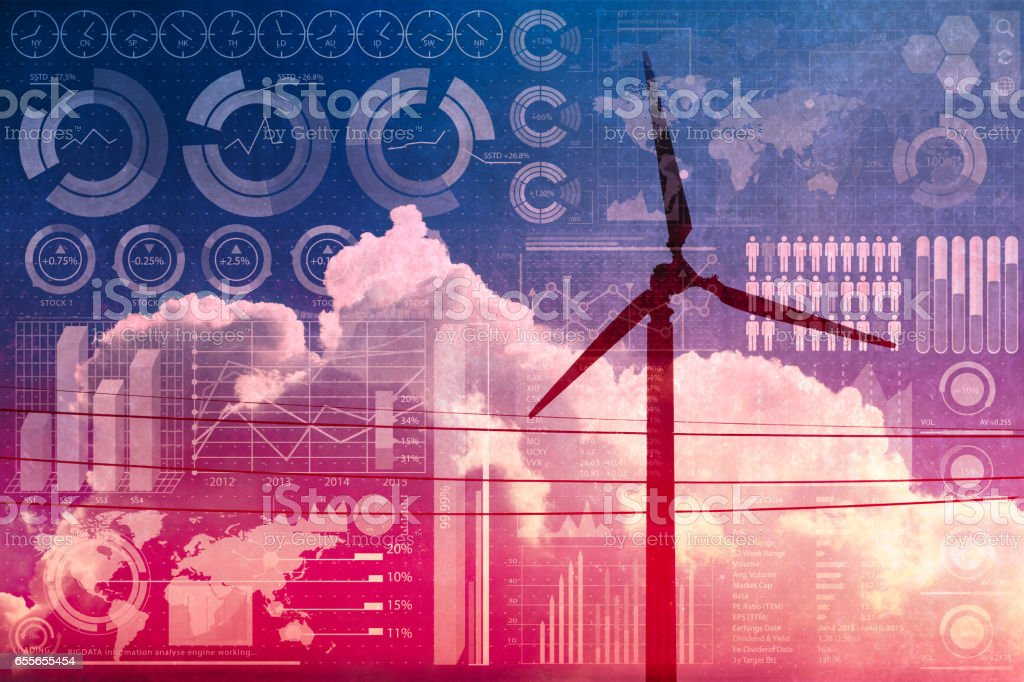 future of power and technology, wind turbine with business information mix media overlay stock photo