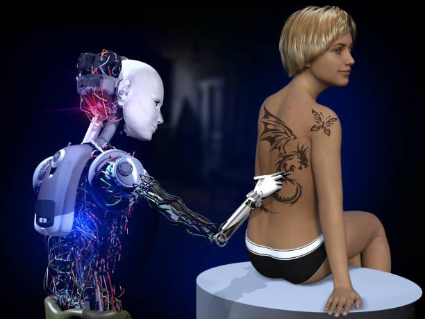 zukunft der tattoo-kunst - tattoo ideen stock-fotos und bilder