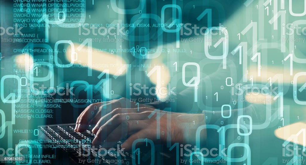 Future of technology, computer hacker typing on keyboard stock photo