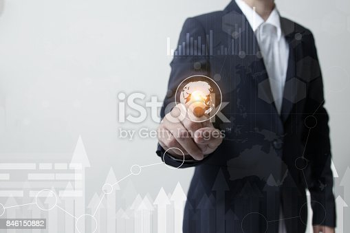 519831260 istock photo Future of technology network concept, Business man hand touching network symbols and graphical interface. 846150882