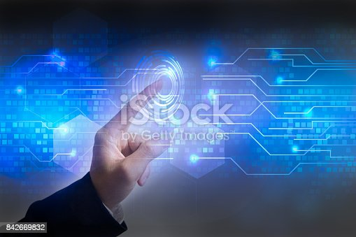 istock Future of technology network concept, Hand touching network symbols and graphical interface. 842669832