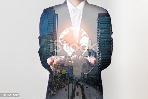 istock Future of technology network concept,Businessman holding worldwide network symbols. 831652982