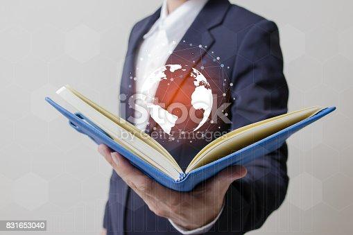 istock Future of technology network concept,Businessman holding worldwide network symbols. 831653040