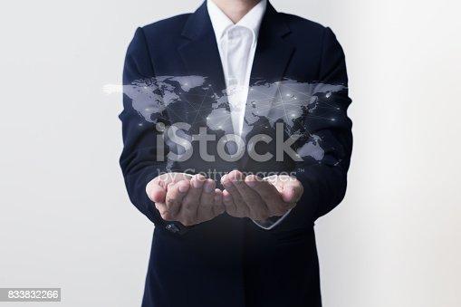 istock Future of technology network concept,Businessman holding worldwide network symbols. 833832266