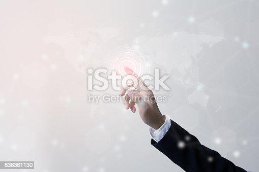 istock Future of technology network concept,Businessman holding worldwide network symbols. 836361130