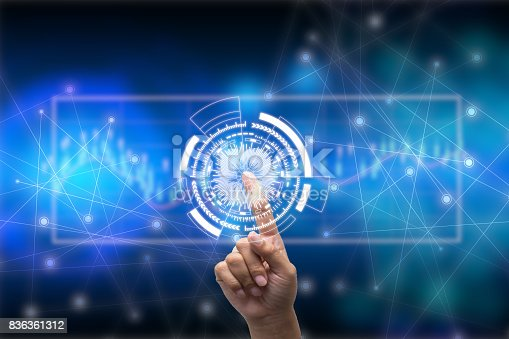 istock Future of technology network concept,Businessman holding worldwide network symbols and graphical interface. 836361312
