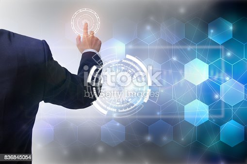 istock Future of technology network concept,Businessman holding worldwide network symbols and graphical interface. 836845054